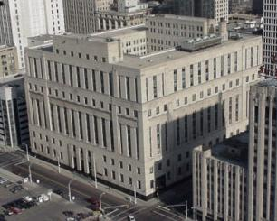 Aerial long shot of the Levin U.S. Courthouse, Detroit