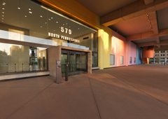 Exterior photo of Minton-Capehart Federal Building employee entrance. Photo courtesy of Steinkamp Photography