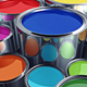 Paint cans with various colors