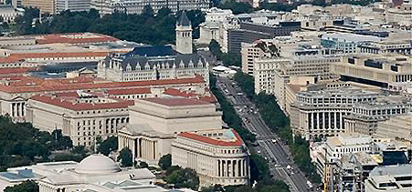 Aerial shot of Pennsylvania Avenue National Historic Site