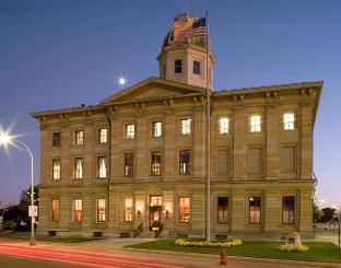 Exterior night shot of Port Huron U.S. Courthouse