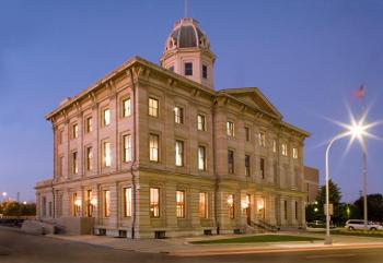 Exterior night shot of the Port Huron U.S. Courthouse
