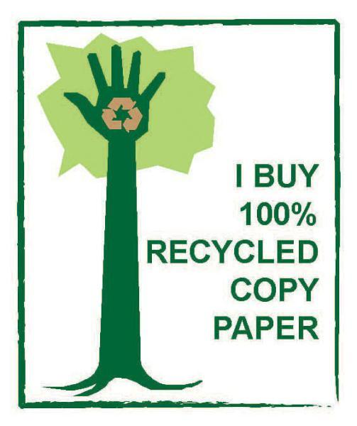 Raised hand with recycling logo overlay