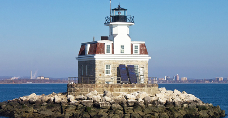 Image of the Penfield Reef Lighthouse off the coast of Fairfield, Connecticut