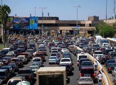 Cars lined up at San Ysidro Border Crossing