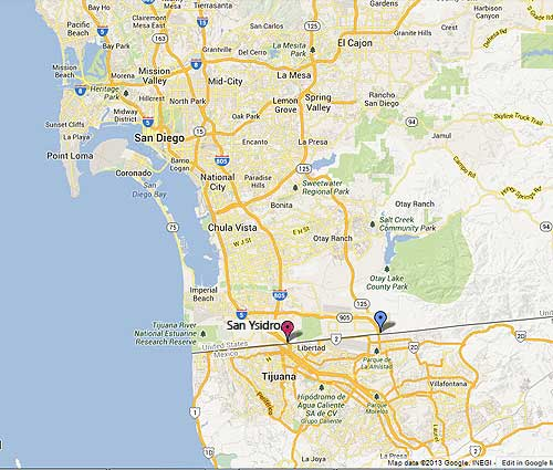 larger map showing San Ysidro in proximity to Mexican Border and San Diego, CA