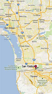 map showing San Ysidro in proximity to Mexican Border and San Diego, CA
