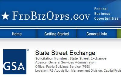 Linked image of FedBizOpps and GSA Starmark logos with thumbnail of page header from the State Street RFB