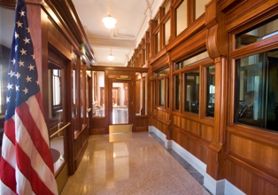 Restored interior hallway of historic Port Huron U.S. Courthouse