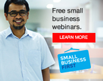 Image reads - Free small business webinars - Click to learn more