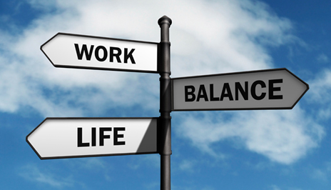Image of signs that say work, life, balance