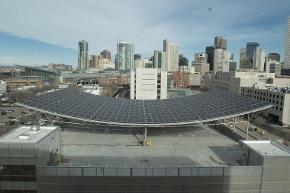 Solar array on the roof of the parking garage adjacent to the Cesar Chavez Building