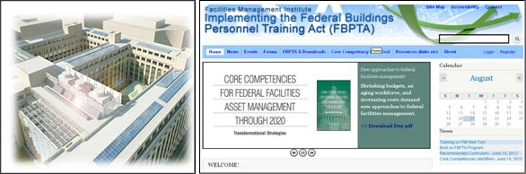 Screenshot of Facilities Management Institute web page that has a headline about implementing the Federal Buildings Personnel Training Act (FBPTA). This screenshot is next to an image of a renovated federal building.