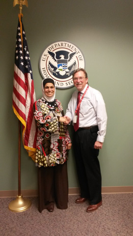 Taghrid Darsso and David Lester of U S Citizenship and Immigration Services