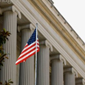 American flag and stately columns