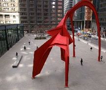 Aerial photo of the Calder Flamingo sculpture on the Chicago Federal Plaza
