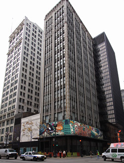 View of 202 South State Federal Building with mural