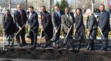 Mayor of Alexandria, NCR Leadership and National Science Foundation project lease cordinators break ground at the future location for the NSF building.