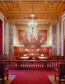 Interior shot of a Metzenbaum courtroom with art work