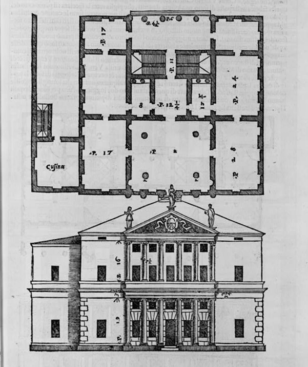 Classical Building Floorplan & Elevation, by Andrea Palladio