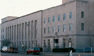 Exterior long shot, street-level view of the Peoria U.S. Courthouse