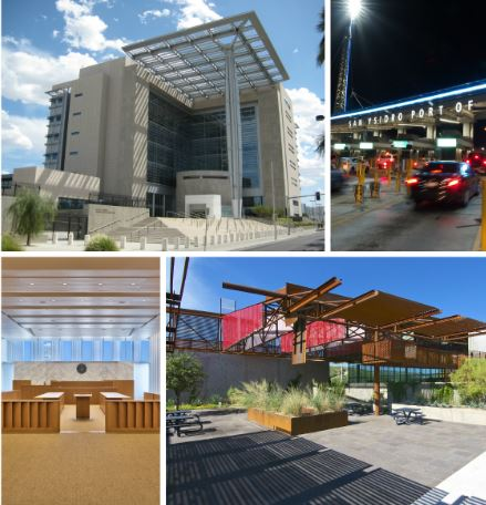 Photos of Lloyd George Federal Building, San Ysidro, LA Courthouse and Mariposa.