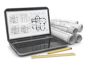 Photo of laptop computer, architectural drawings, pencil, and ruler