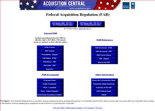 screenshot of the Federal Acquisition Regulation (FAR)