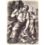 Worker with Mallet, Moses Oley, Print