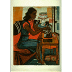 Girl Sewing, Bernard P. Schardt, Print