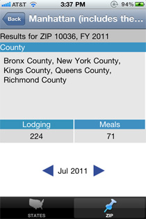 Screenshot of of the app using Manhattan and filtered by zip code