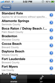 Screenshot of search of the app using the state of Florida