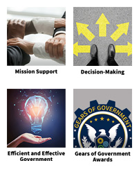 thumbnails of the four areas, Mission Support, Decision-making, Efficient and Effective Government, and the GoG Awards