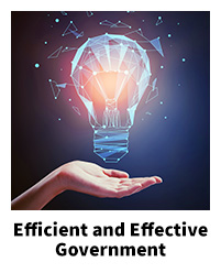 Efficient and Effective Government, with hand below abstract lightbulb