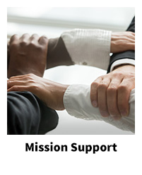 Mission Support, with four hands grasping together