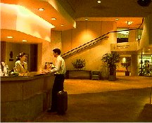 Hotel Lobby with guest at front desk