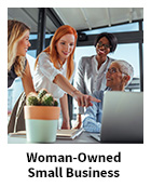 Woman-Owned Small Business slide, with four women meeting around a laptop in an office