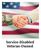 Service-Disabled Veteran-Owned slide with a veteran and a civilian shaking hands in front of an American flag