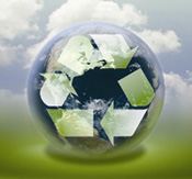 Picture of earth and recycling symbol