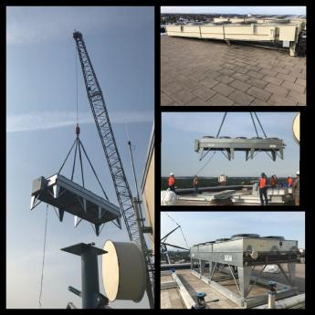 Four-picture collage showing 8,000 lbs dry chiller being lifted on top of the Anchorage Federal Building
