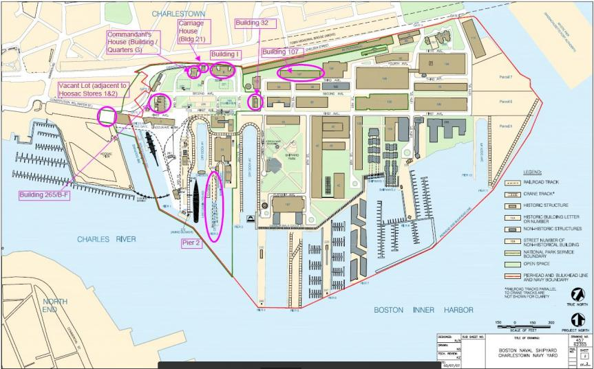 A map of the Charlestown Navy Yard