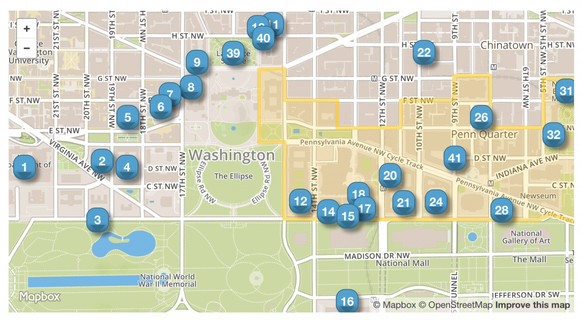 Historic places marked on an image of the DC