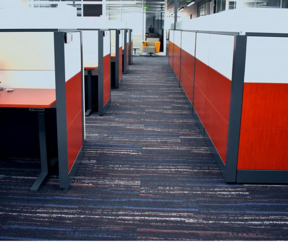 Building 85 renovation orange cubes