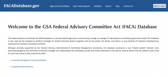 Screenshot of the Facadatabse.gov homepage