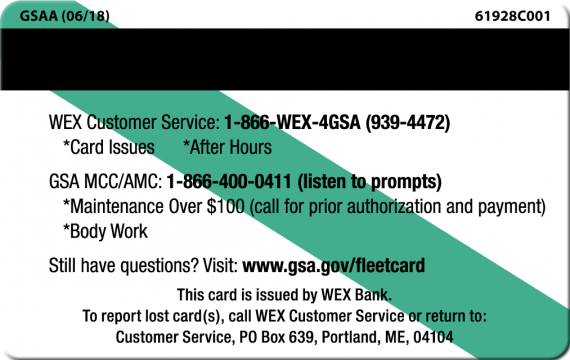 back of gsa fleet services card lists phone numbers wex 866 wex - Fleet Gas Cards