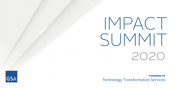 Banner with white background and the following text in blue: Impact Summit 2020 Powered by the Technology Transformation Service