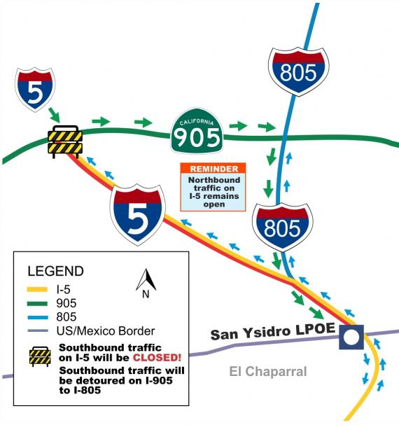 Detour Map shows where traffic will be rerouted from I-5 South down the 905 to the 805 South. Port remains open