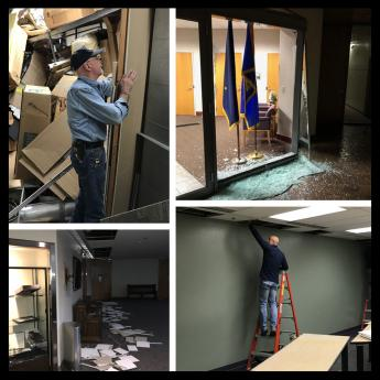 Photo montage of impact of Anchorage Alaska earthquake to GSA facilities