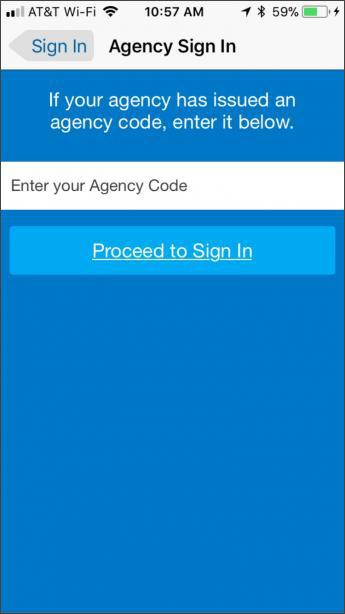 Screenshot of step 2 for concur login