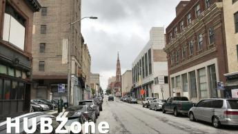 Street view of Baltimore with text HUBZone